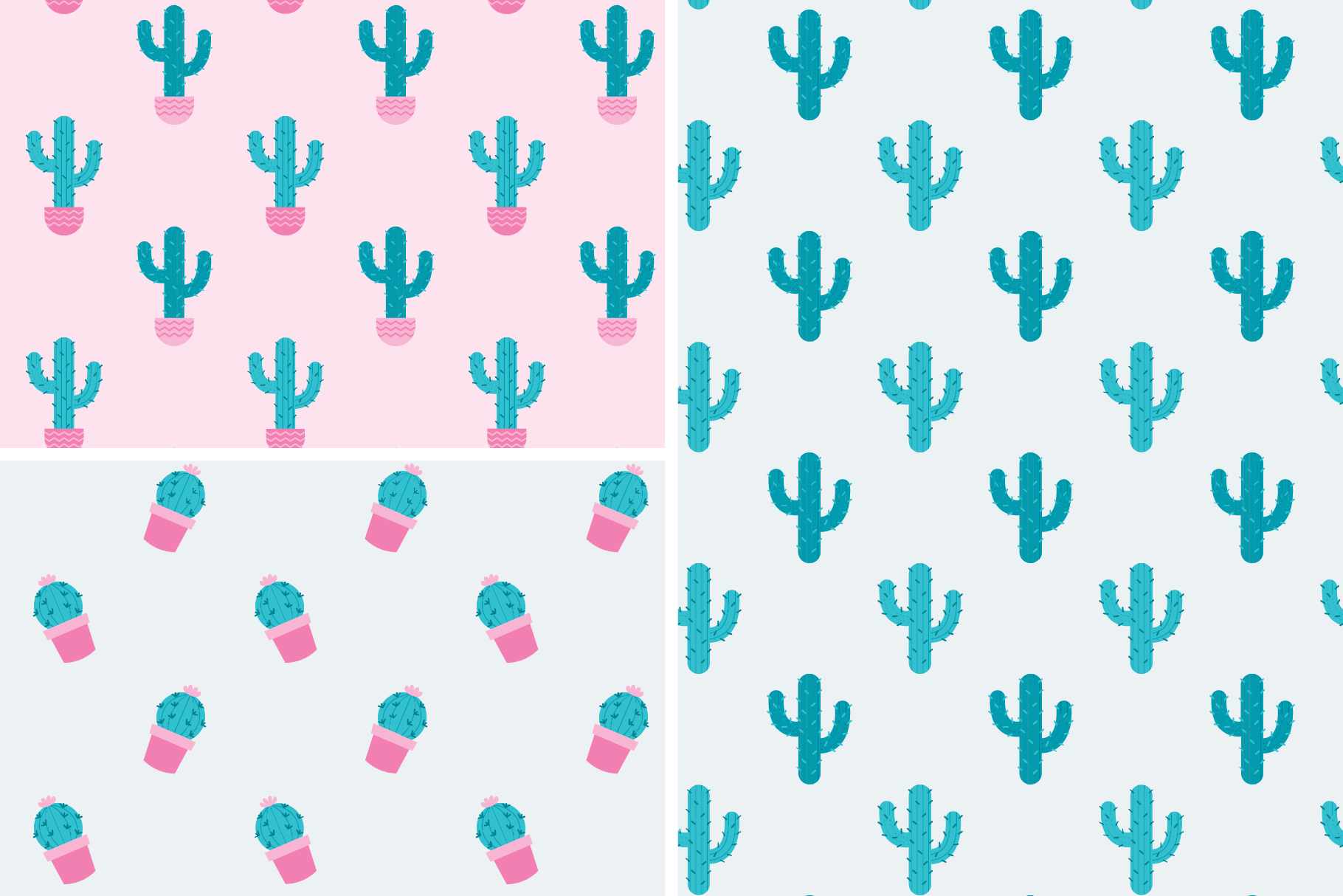 Cactus Seamless Patterns Collection example image 5