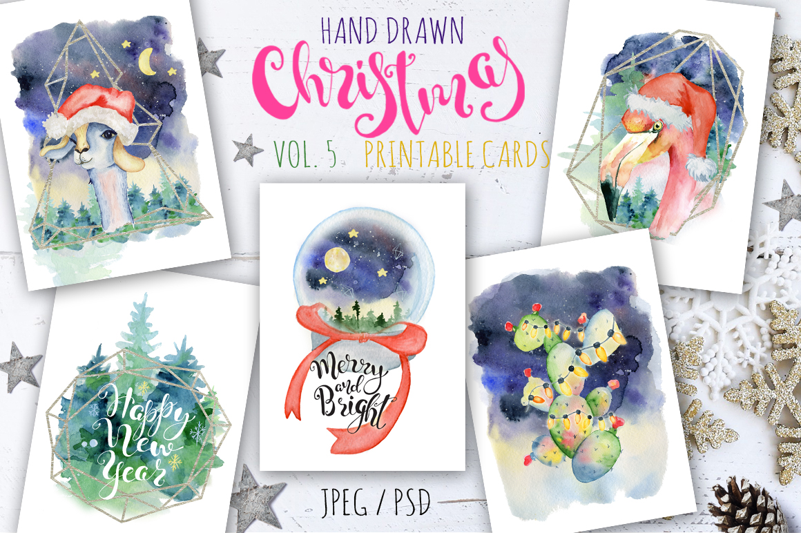 Magical Winter Bundle. Big Watercolor and lettering collection example image 6