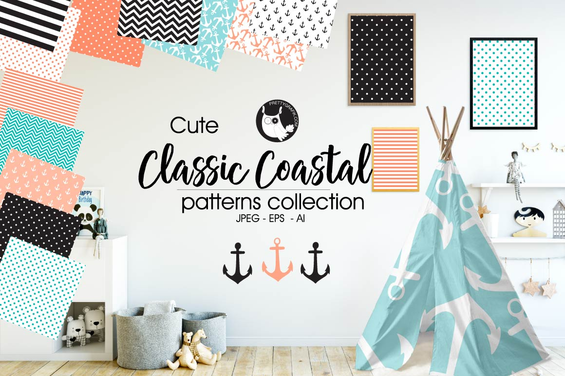 Classic coastal, digital papers example image 1