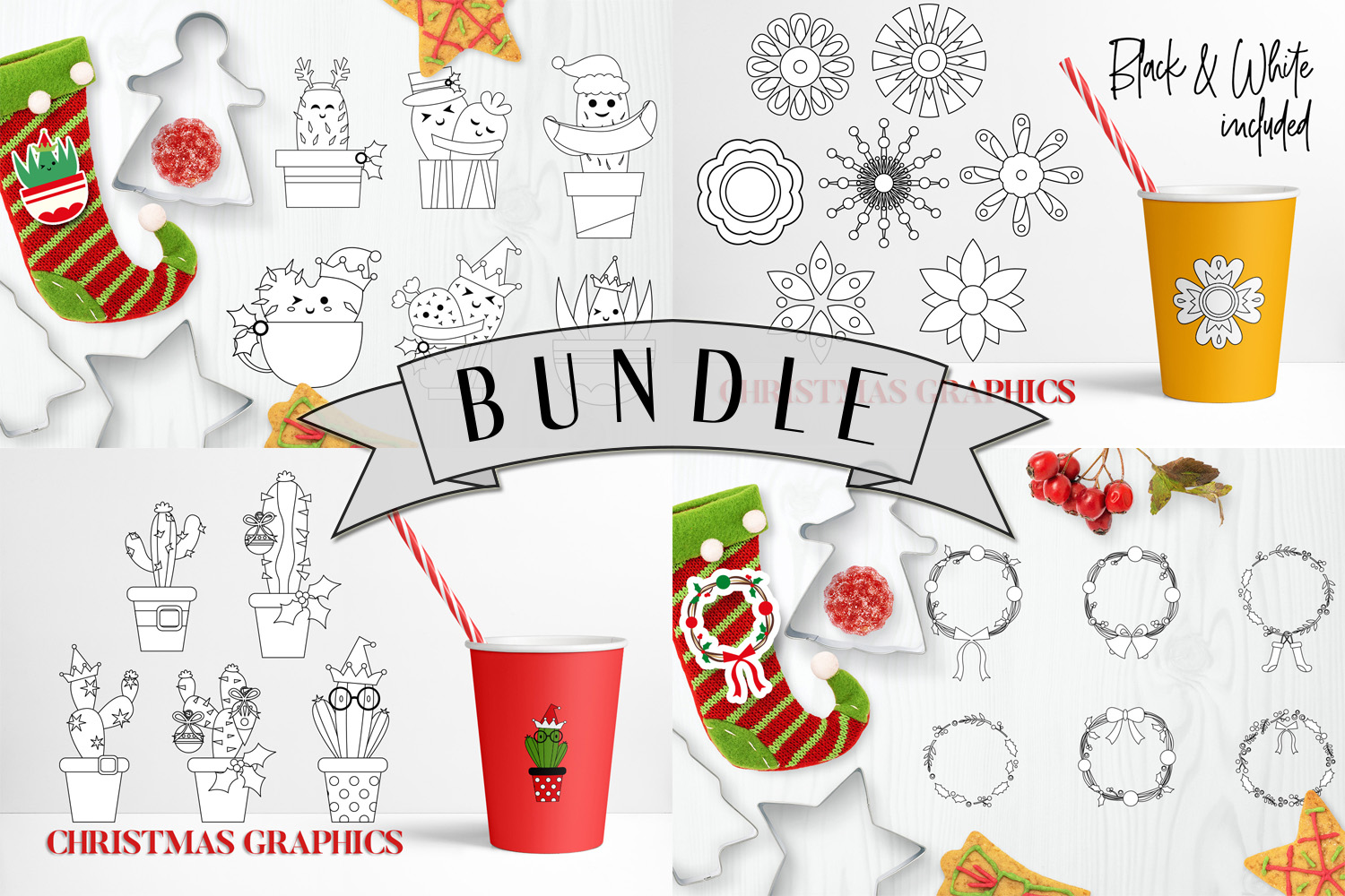 Christmas Bundle, Cactus and Flowers Illustrations example image 2