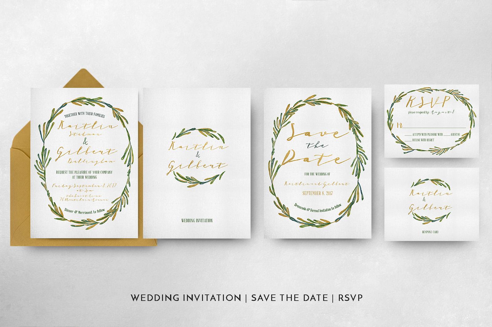 Elegant Wreath Wedding Invitation Suite example image 5