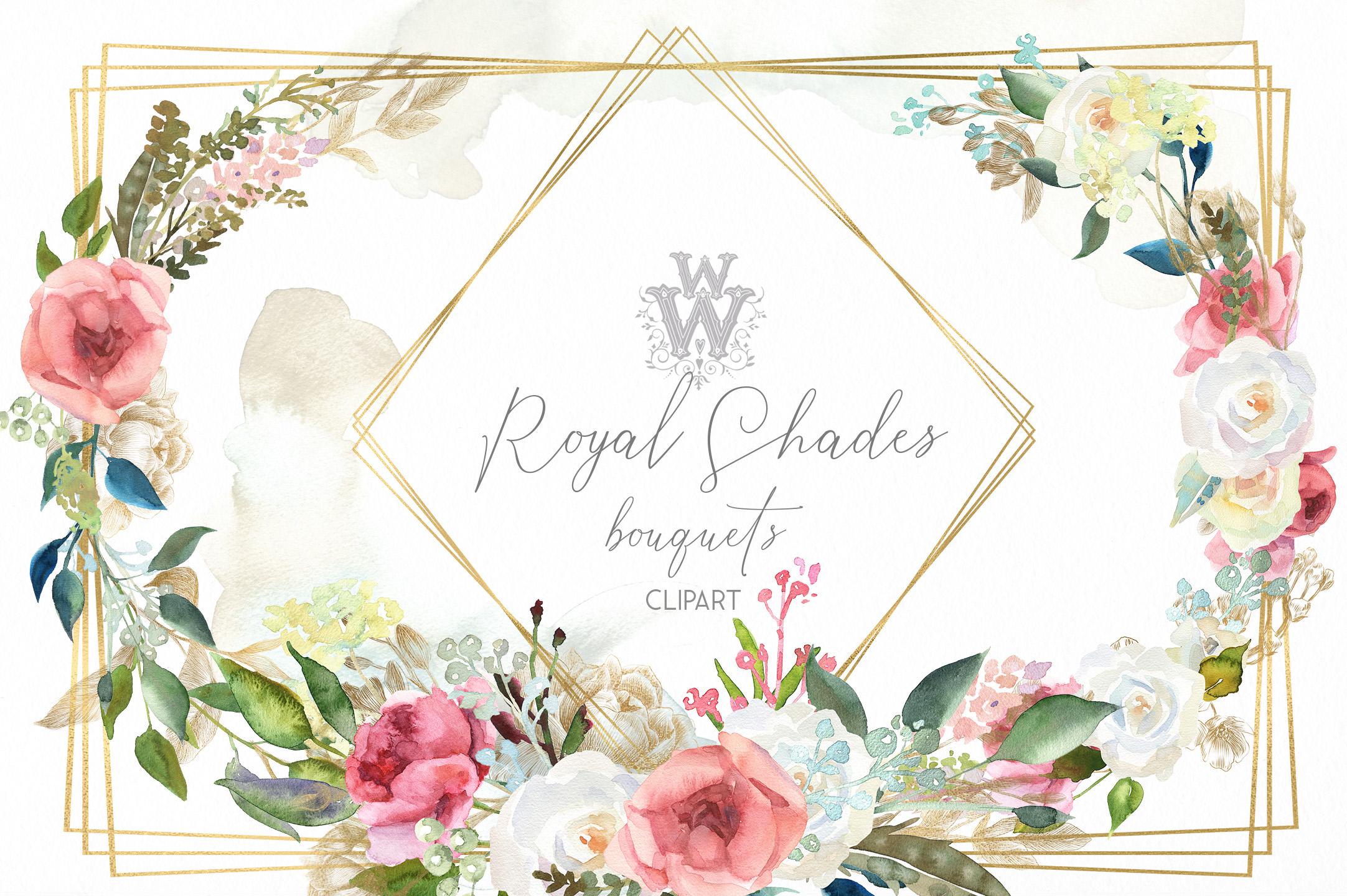 Watercolor rustic wedding bouquets clipart, vintage wreath example image 7