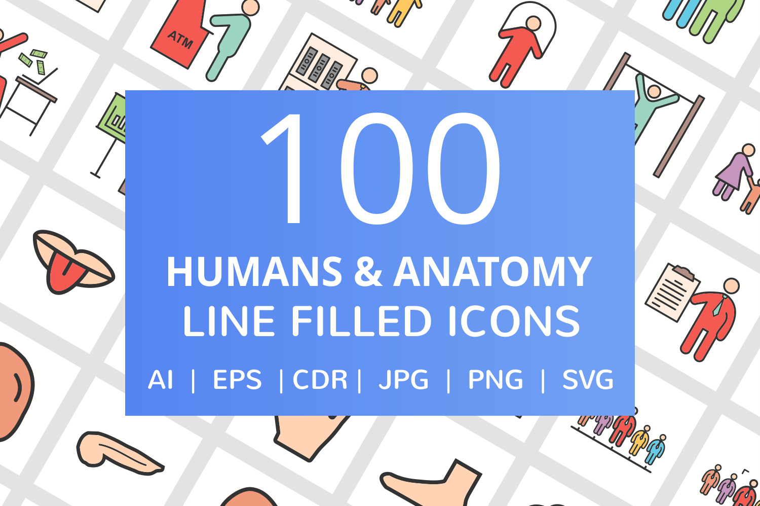 100 Humans & Anatomy Filled Line Icons example image 1