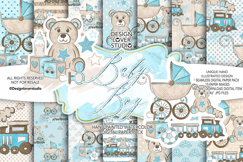 Baby Boy digital paper pack example image 1