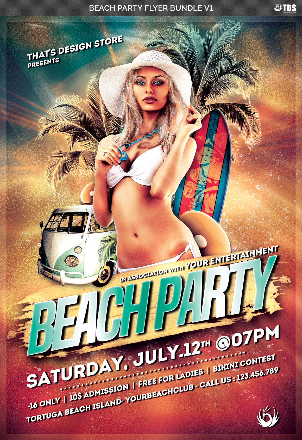 Beach Party Flyer Bundle V1 example image 7