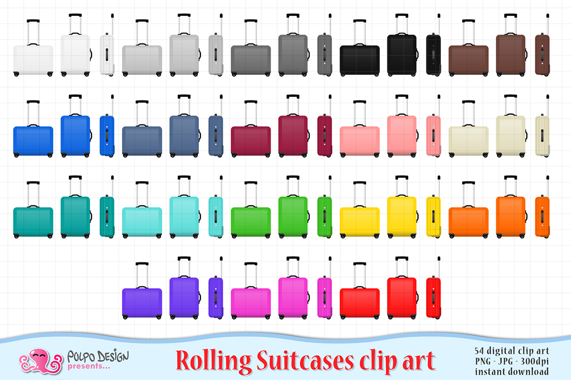 Colorful Rolling Suitcase clipart example image 1