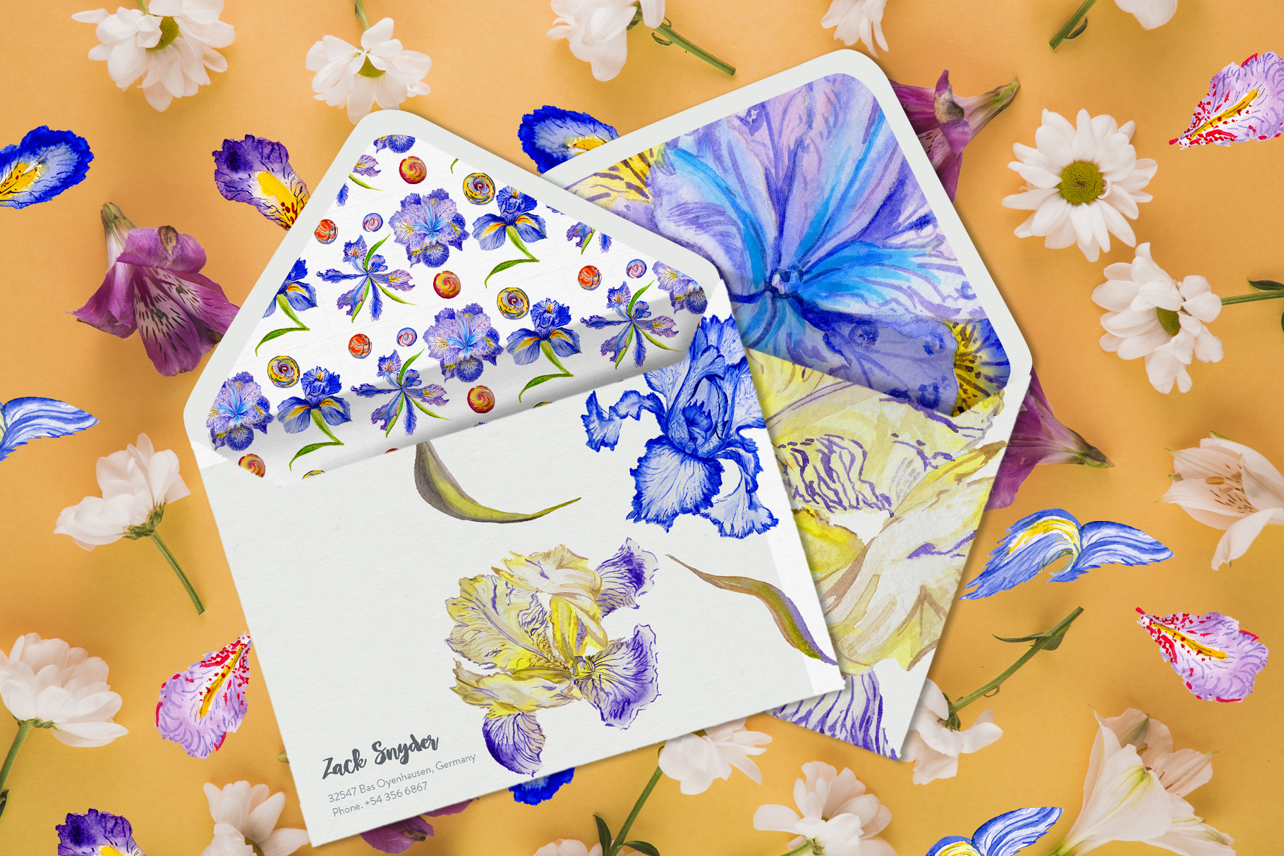 Iris blue Watercolor png example image 3