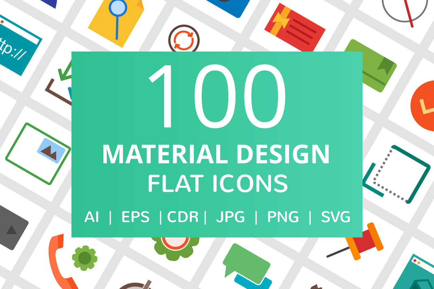 100 Material Design Flat Icons example image 1