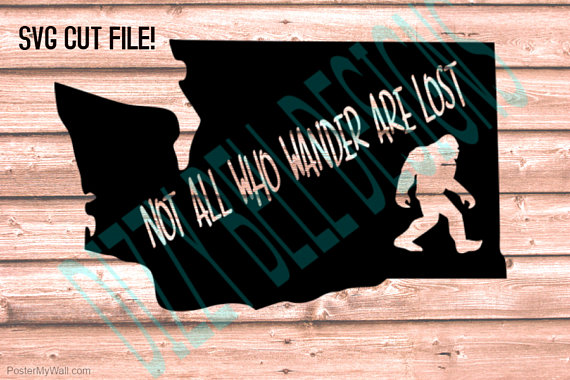 WASHINGTON State Sasquatch File PNW, Digital Instant Download, svg Cut Files for Silhouette & Cricut, WA State, Not all who wander are lost example image 2