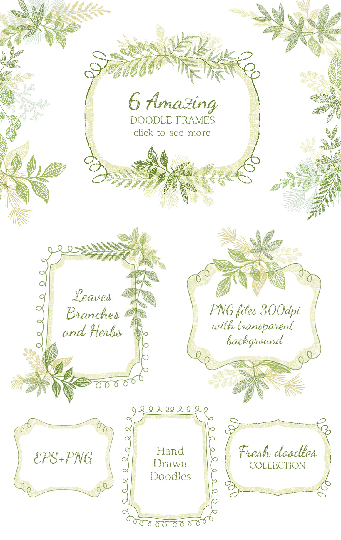 Hand drawn Leaves Branches & Herbs Fresh Doodle collection example image 4