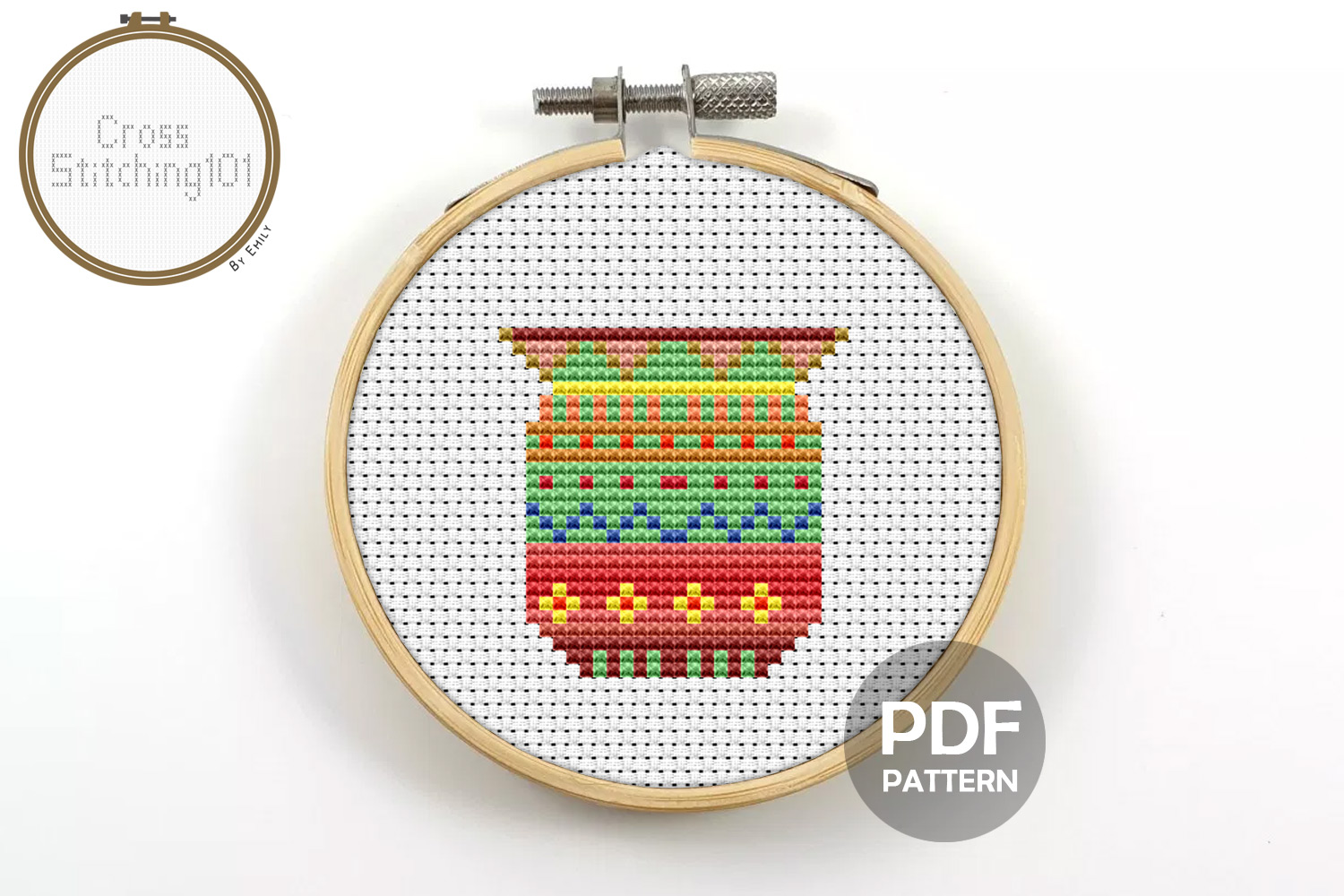 Flower Pot Cross Stitch Pattern - Instant Download PDF example image 1