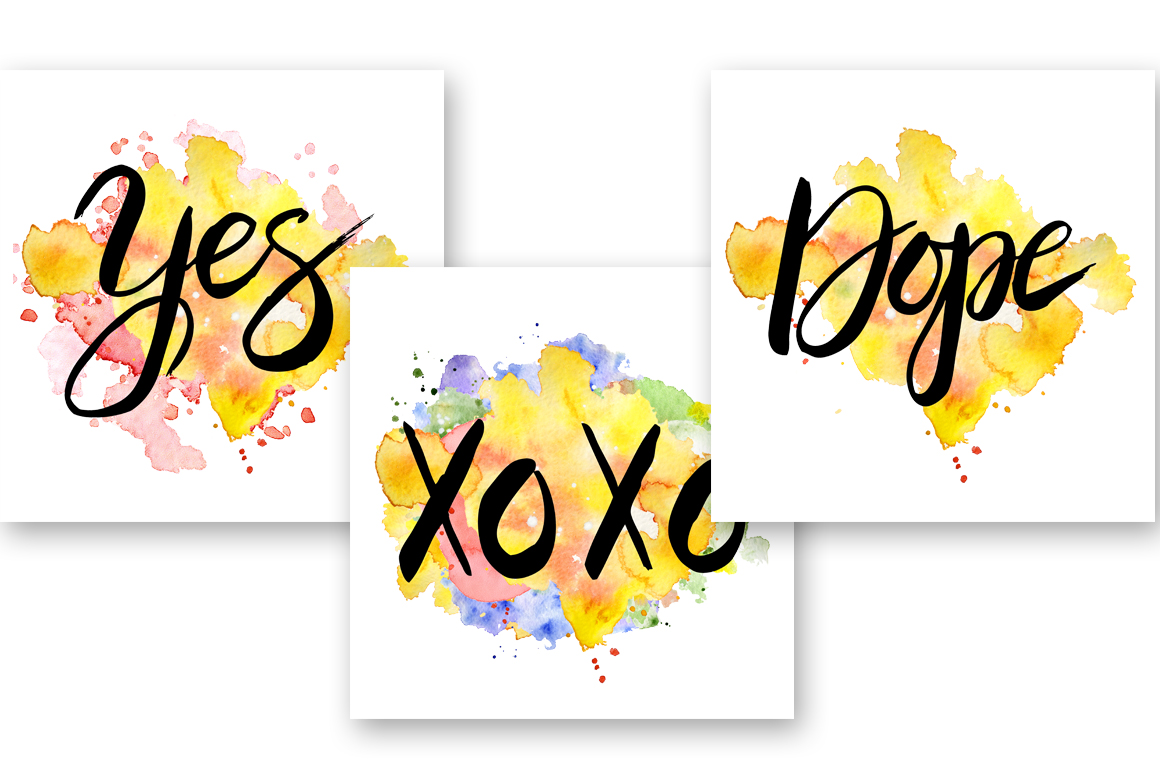 Hand drawn watercolor Inspirational quotes DIY pack example image 7