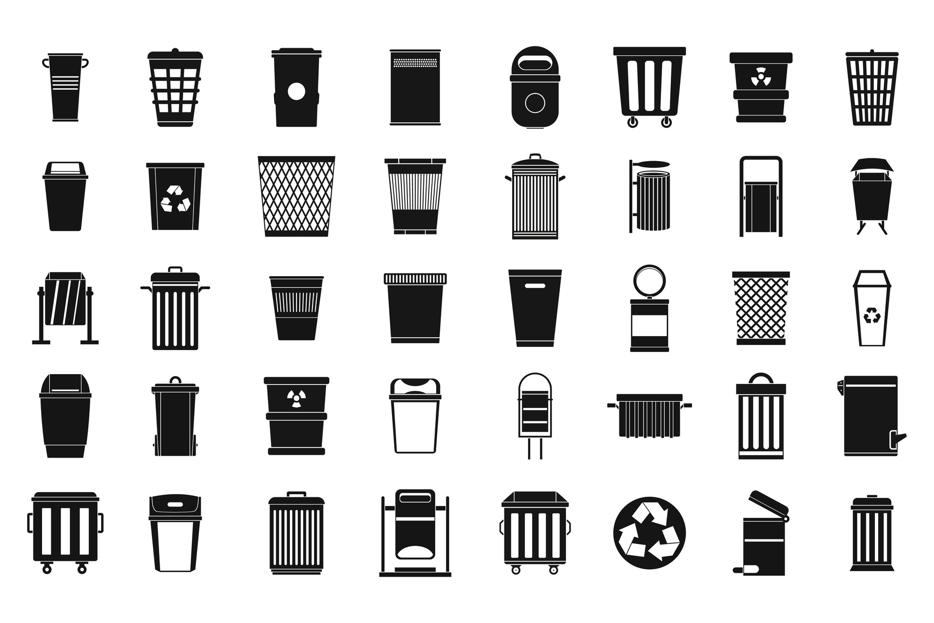 Garbage can icon set, simple style example image 1