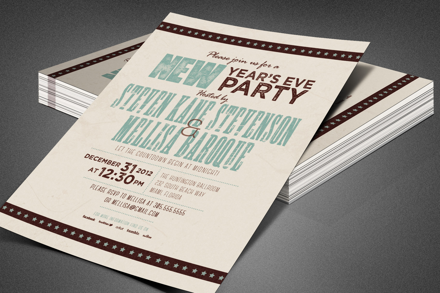Retro New Year Party Invite Card Template example image 2
