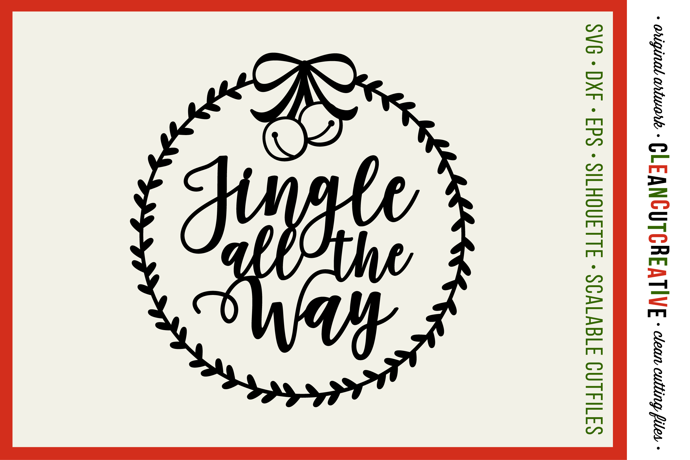 Christmas Wreath Silhouette.Jingle All The Way With Wreath Christmas Designu00a0 Svg Design