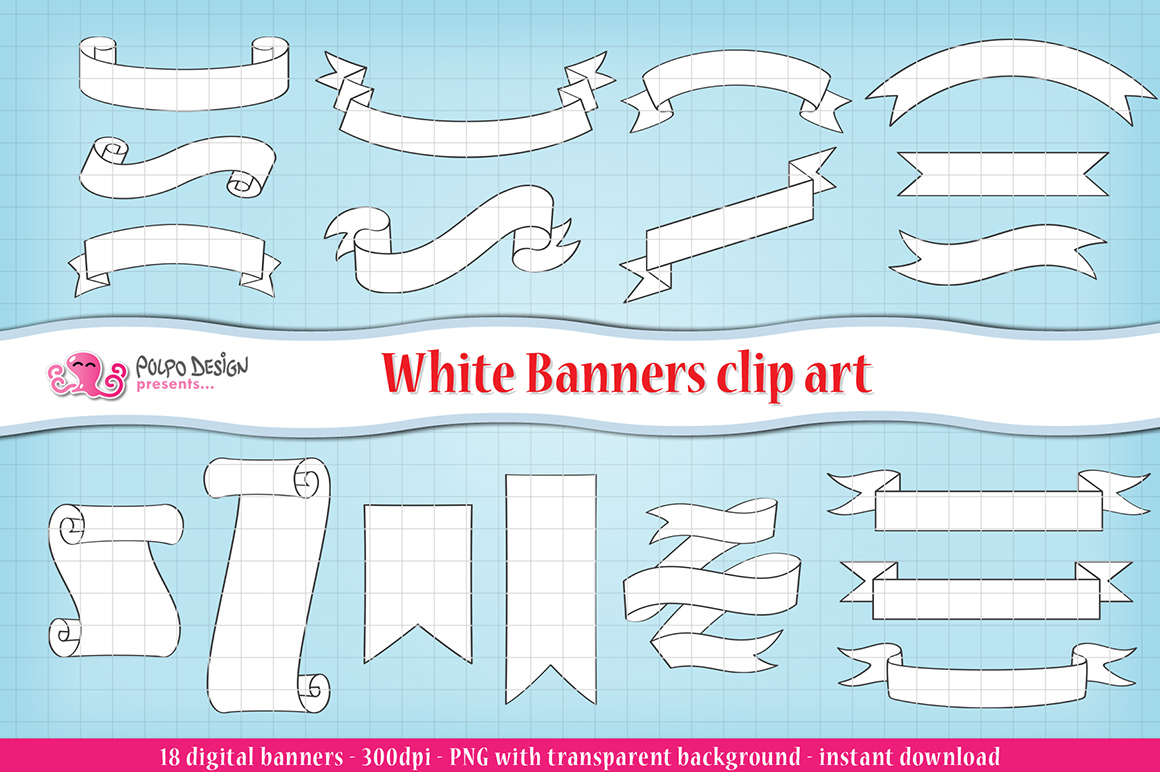 White Banners clip art example image 1