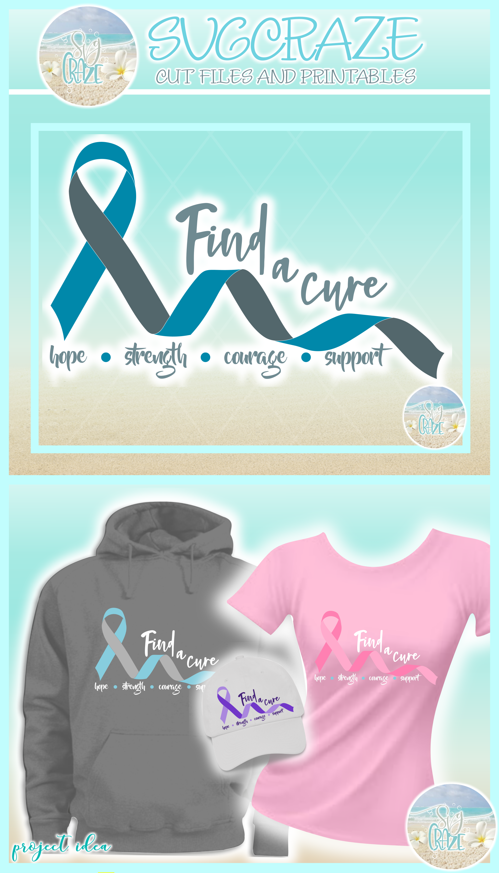 Find A Cure Two Colors Ribbon Svg Dxf Eps Png Pdf Files example image 4