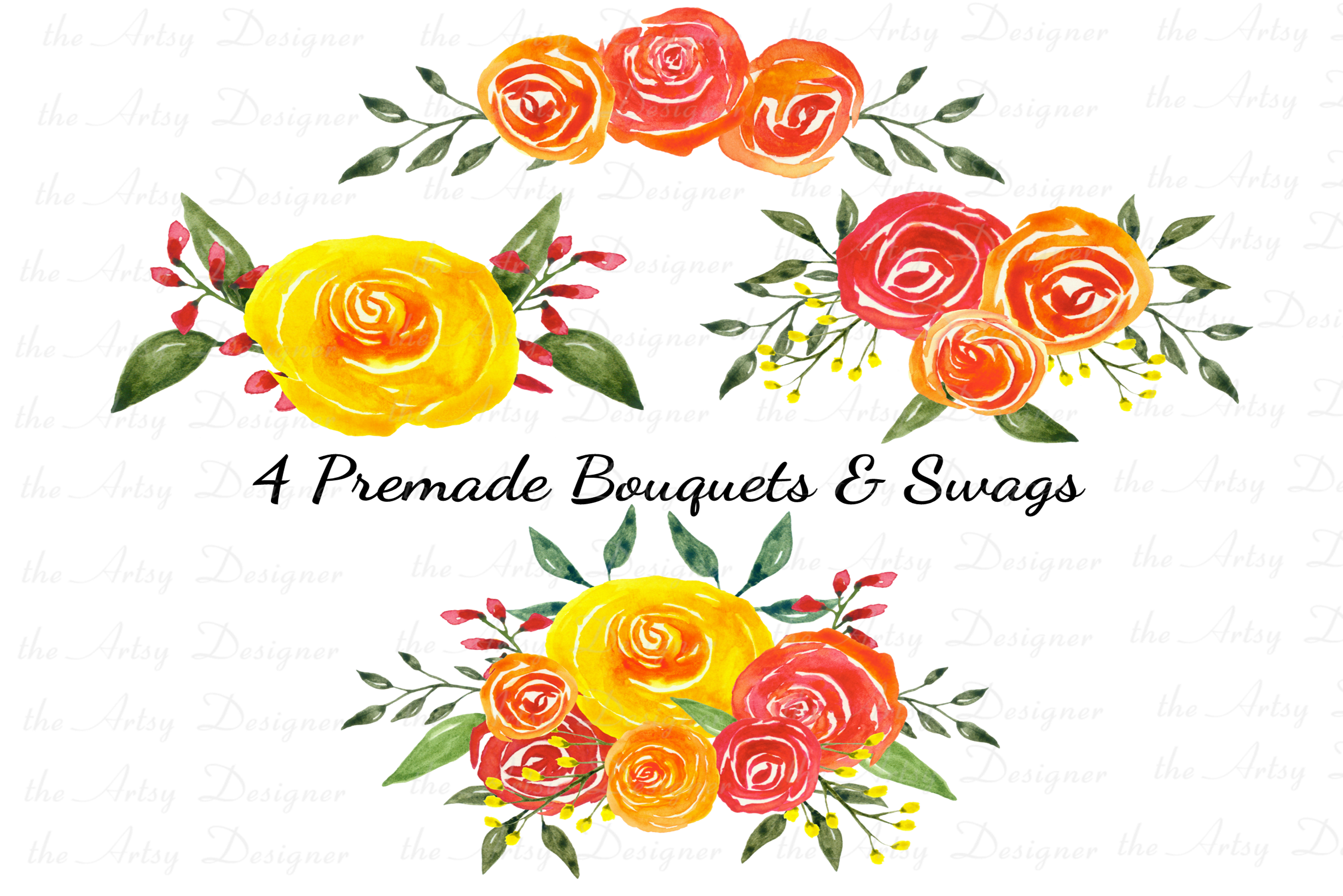 Watercolor Flowers Clipart Bundle Orange Red Yellow Florals example image 2