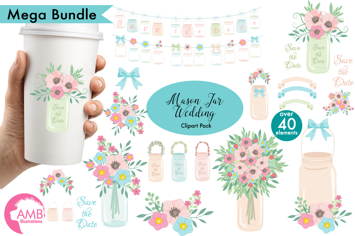 Mason Jar Wedding clipart, graphics, illustrations AMB-966 example image 1