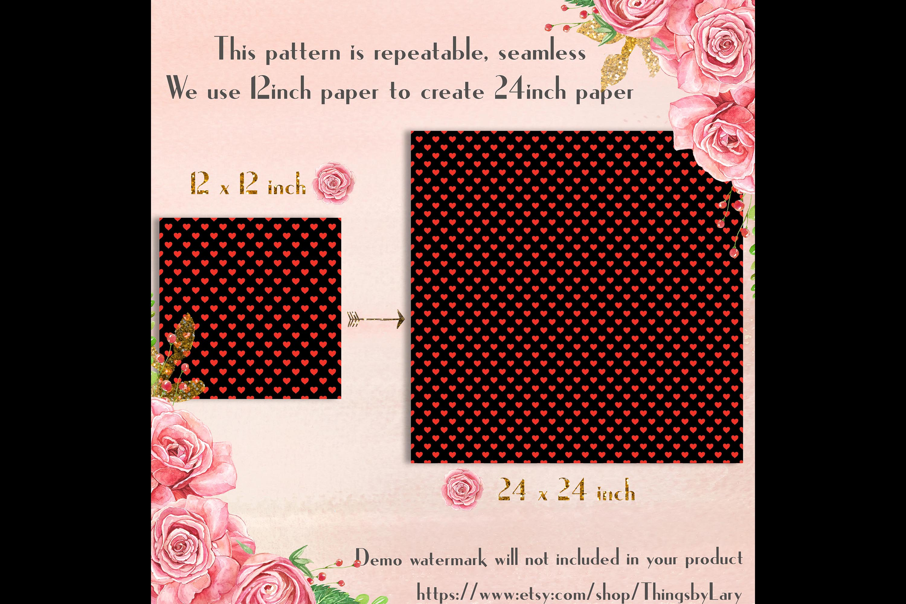 100 Seamless Black and Solid Heart Valentine Digital Papers example image 9