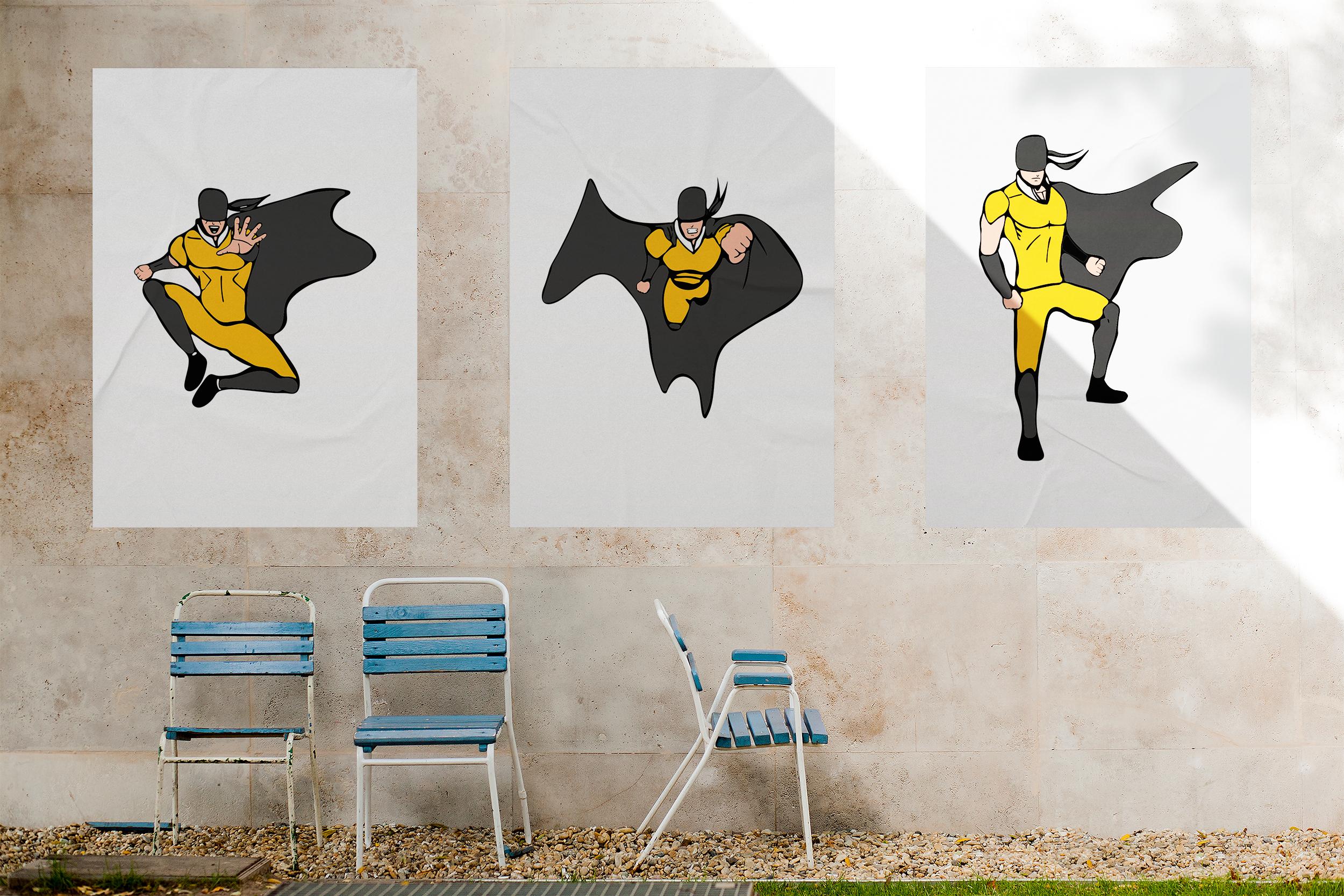 Superhero models in various poses. example image 1