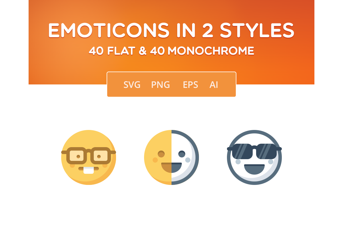 Simple Emoticons in 2 styles example image 1