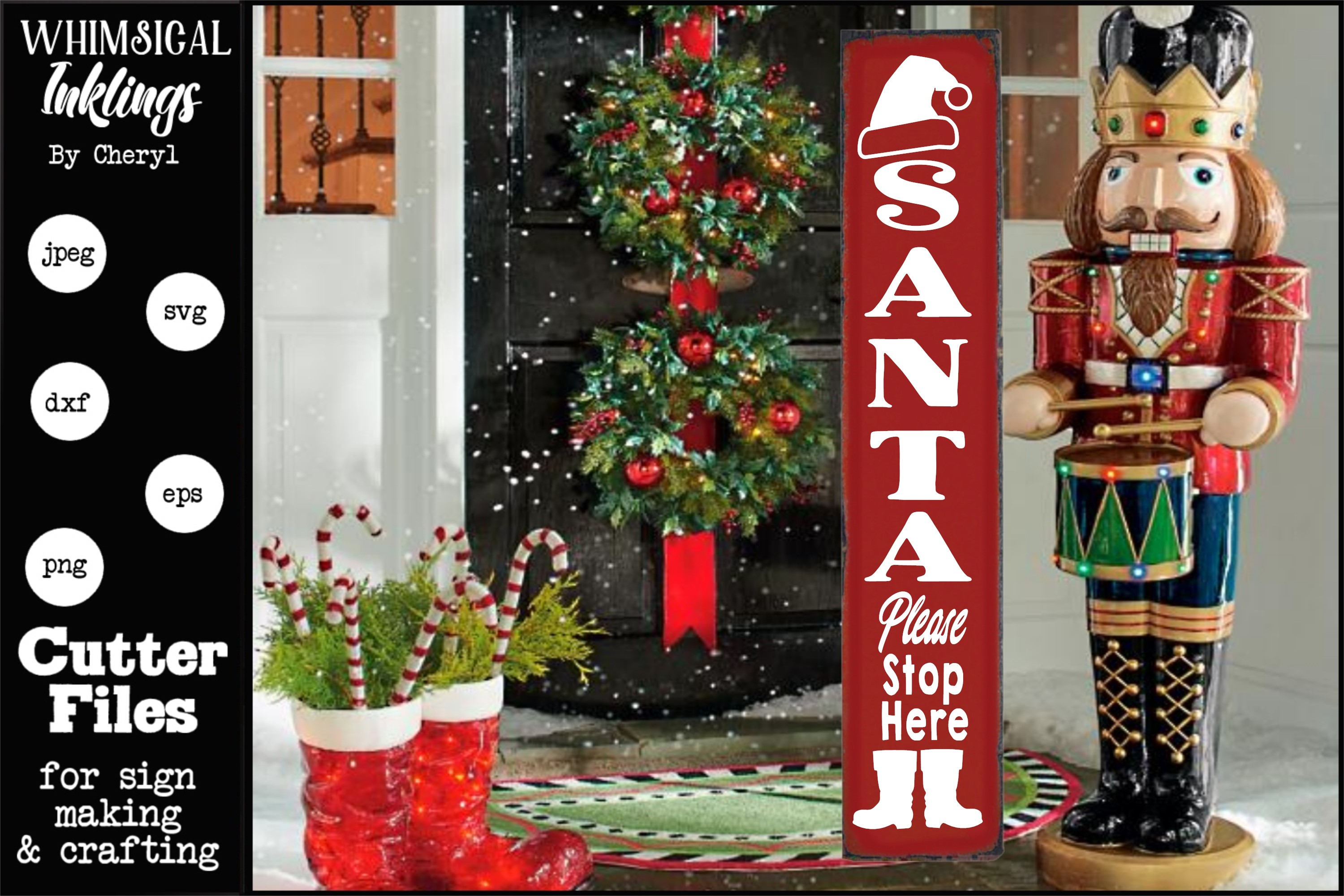 Santa Please Stop Here -Christmas-Vertical SVG example image 1
