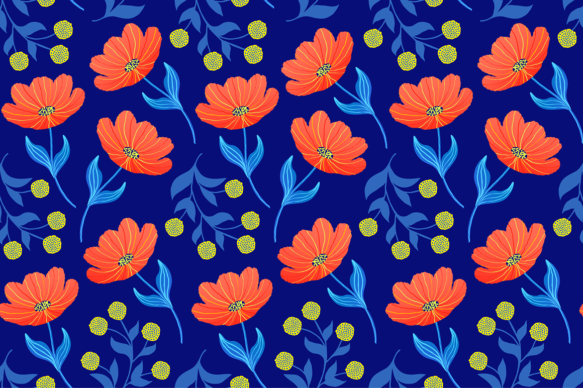Spring tulips. Seamless patterns. example image 4