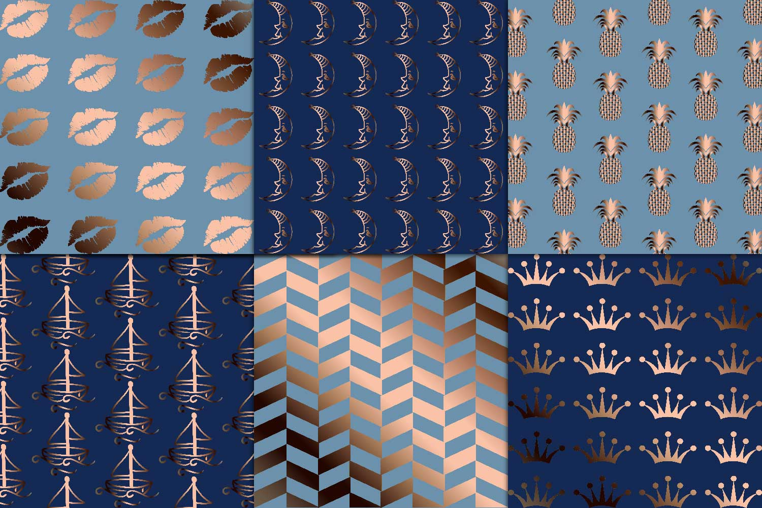 Copper & Navy Digital Paper example image 3