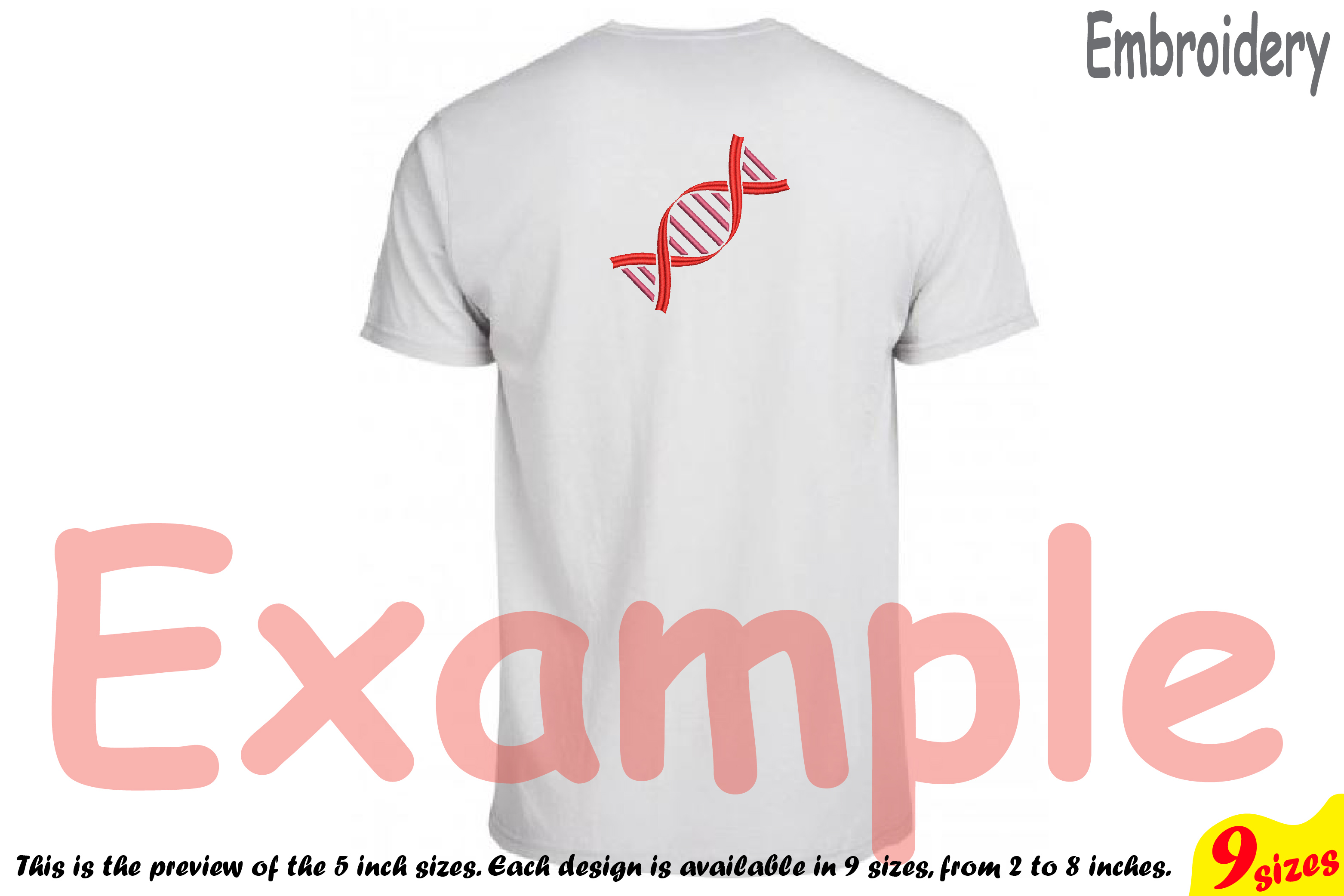 DNA Structure - Science - Designs for Embroidery Machine Instant Download Commercial Use digital file 4x4 5x7 hoop icon symbol sign 194b example image 2