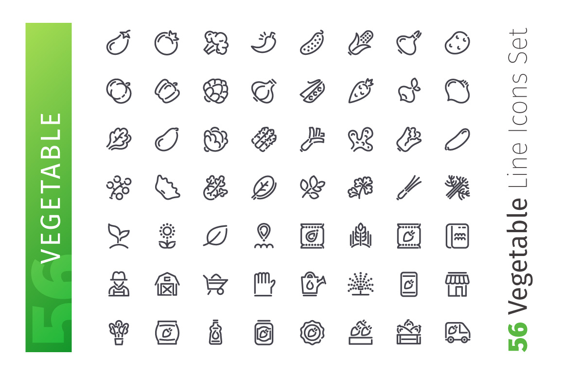 Vegetable Line Icons Set example image 3