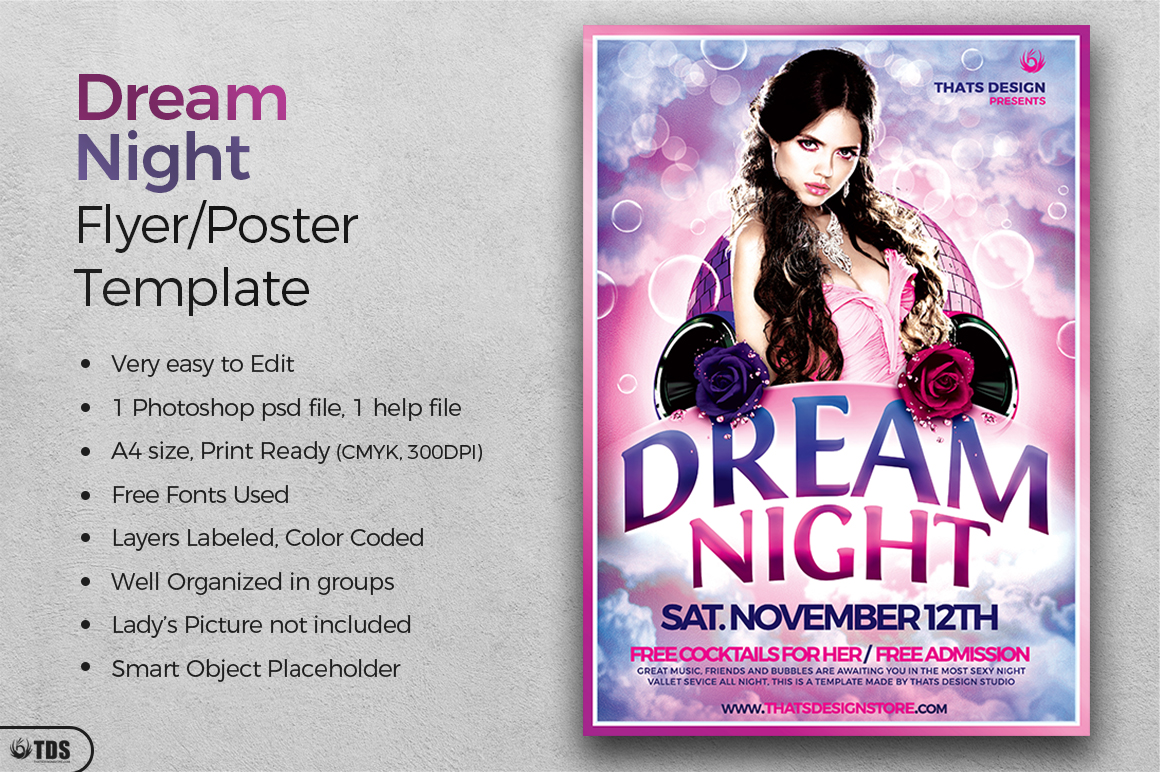 Dream Night Flyer Template example image 2