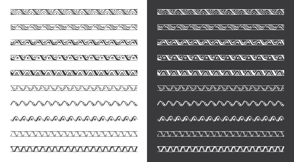 Hand Drawn Pattern Brushes Bundle - Volumes 01, 02 & 03 example image 5
