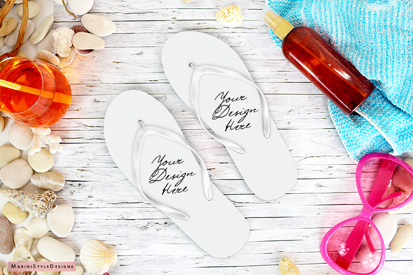 Summer Beach Flip Flop mockup, craft mockup PSD & PNG, 966 example image 2