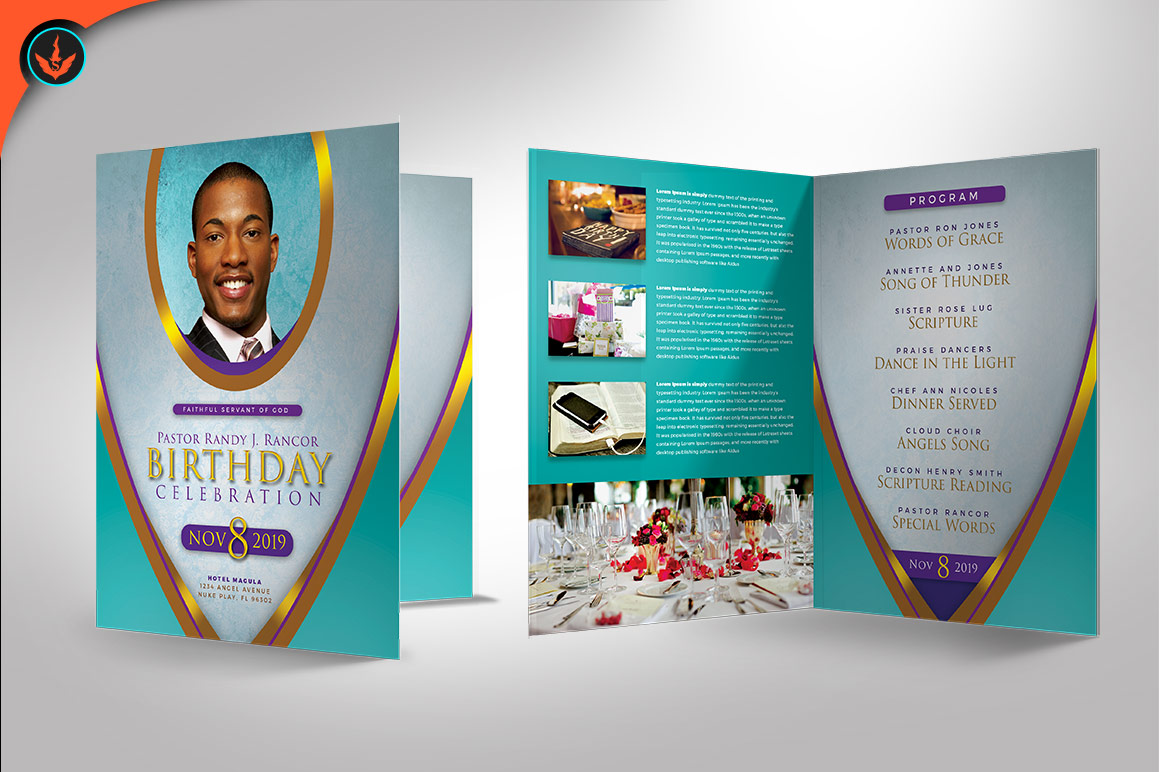 Royal Teal Pastor Birthday Party Program Photoshop Template example image 3
