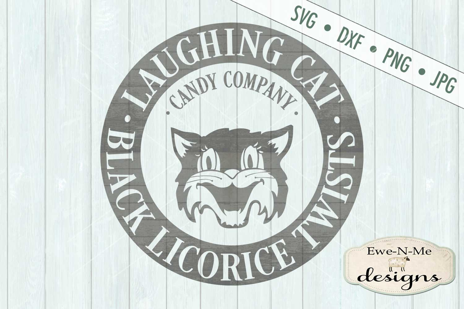 Laughing Cat Black Licorice Twists SVG DXF Files example image 2