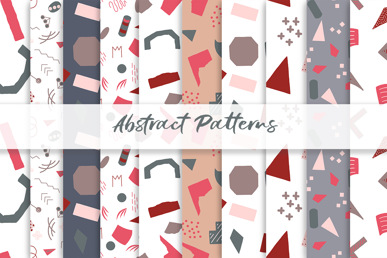 Abstract vector patterns. Big geometric collection, seamless example image 7