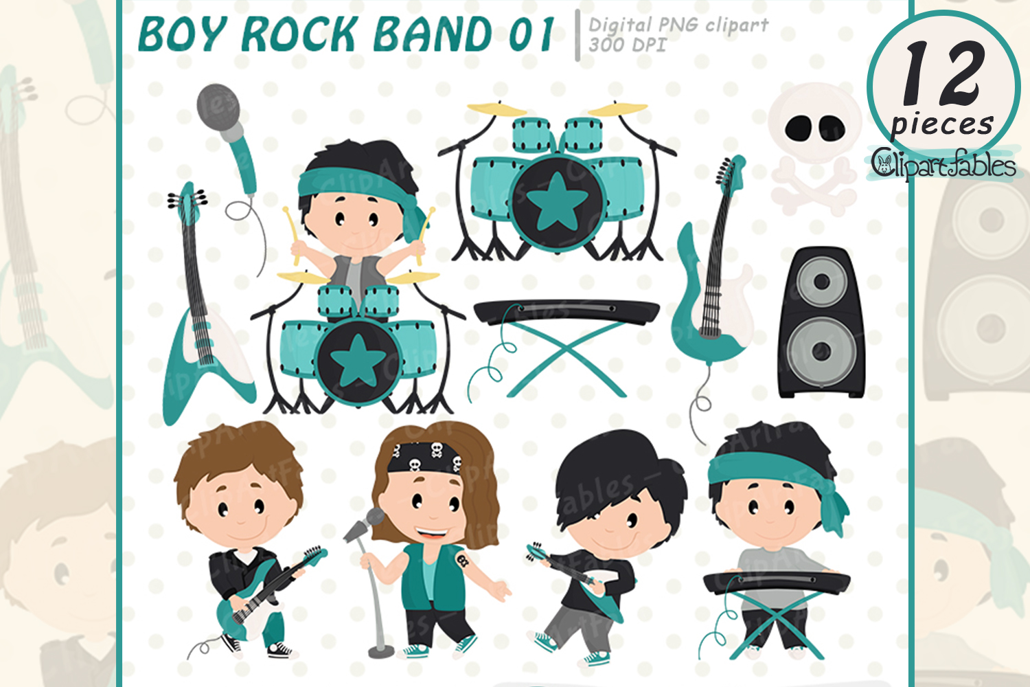 BOY Rock Star clipart, Music clip art - INSTANT download example image 1