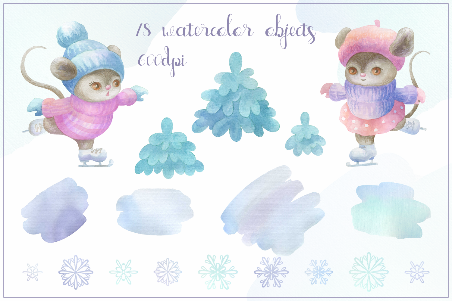 Winter story. Cute little mice. Watercolor set example image 2