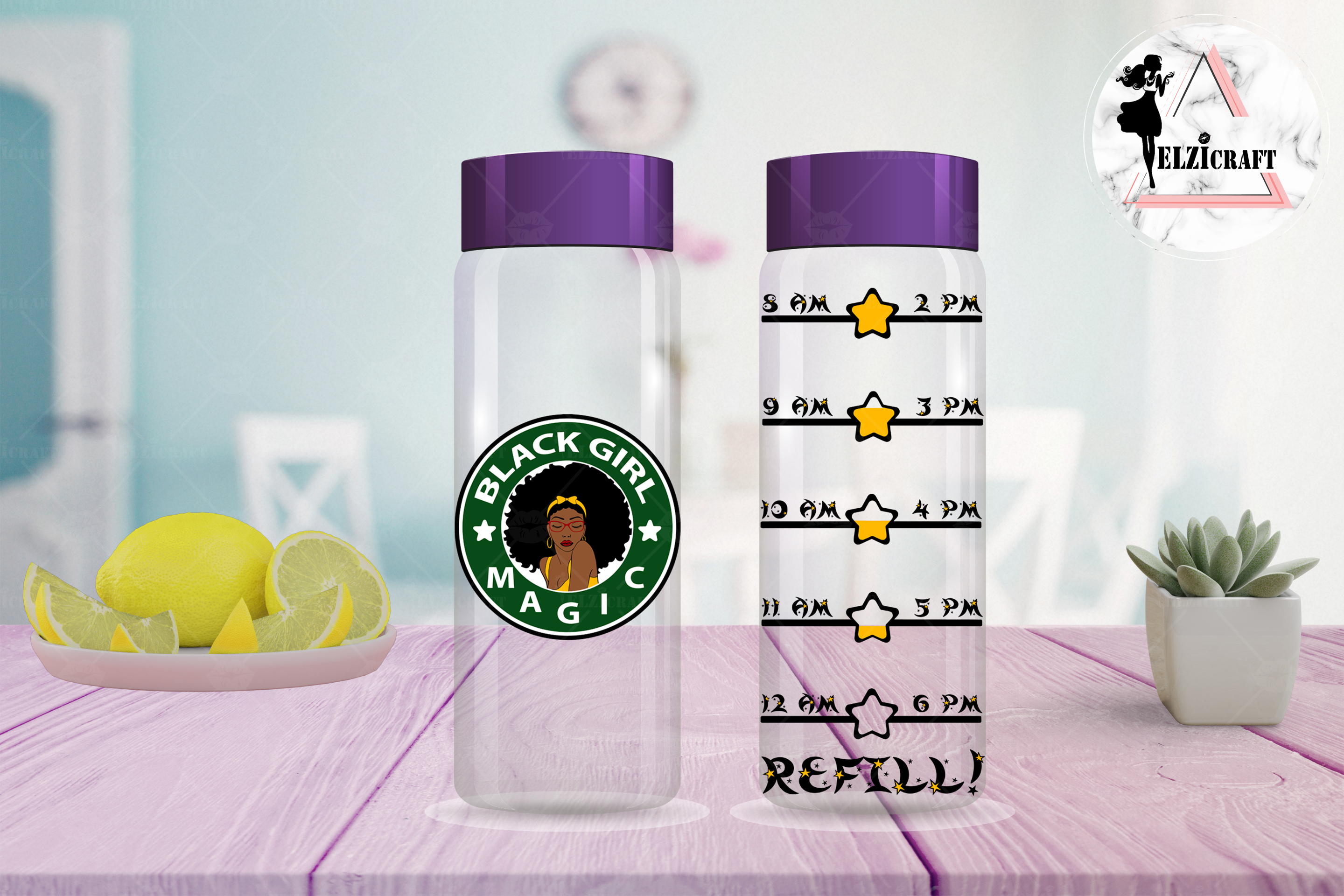 Water Bottle Tracker Black Girl Magic, Afro Woman SVG Files example image 2