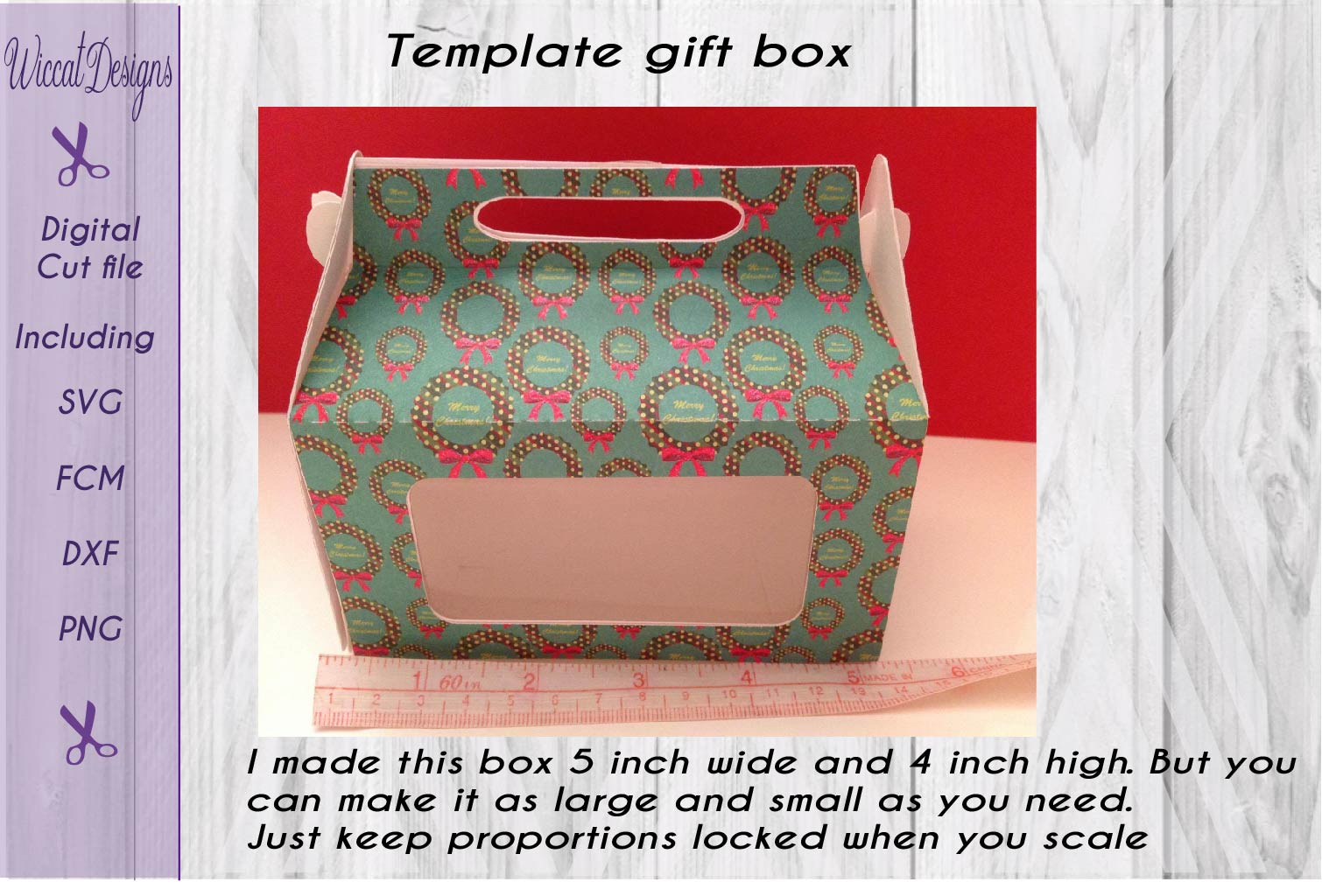 Gift box, paper Gift box svg, template box svg,  example image 3