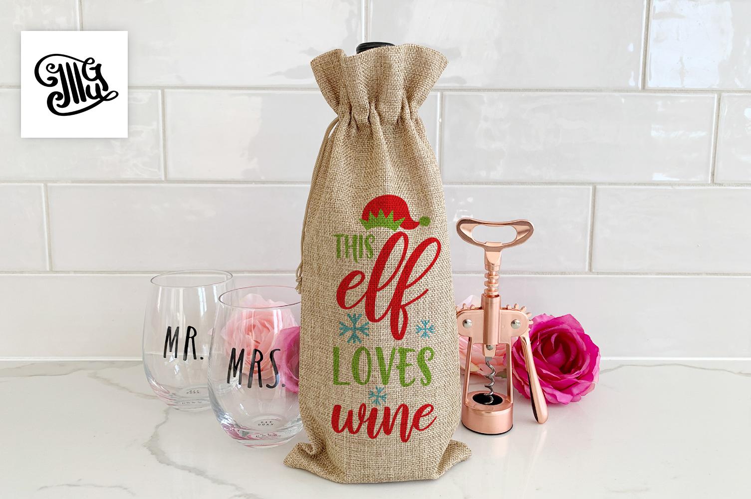 Christmas wine bag svg bundle example image 11