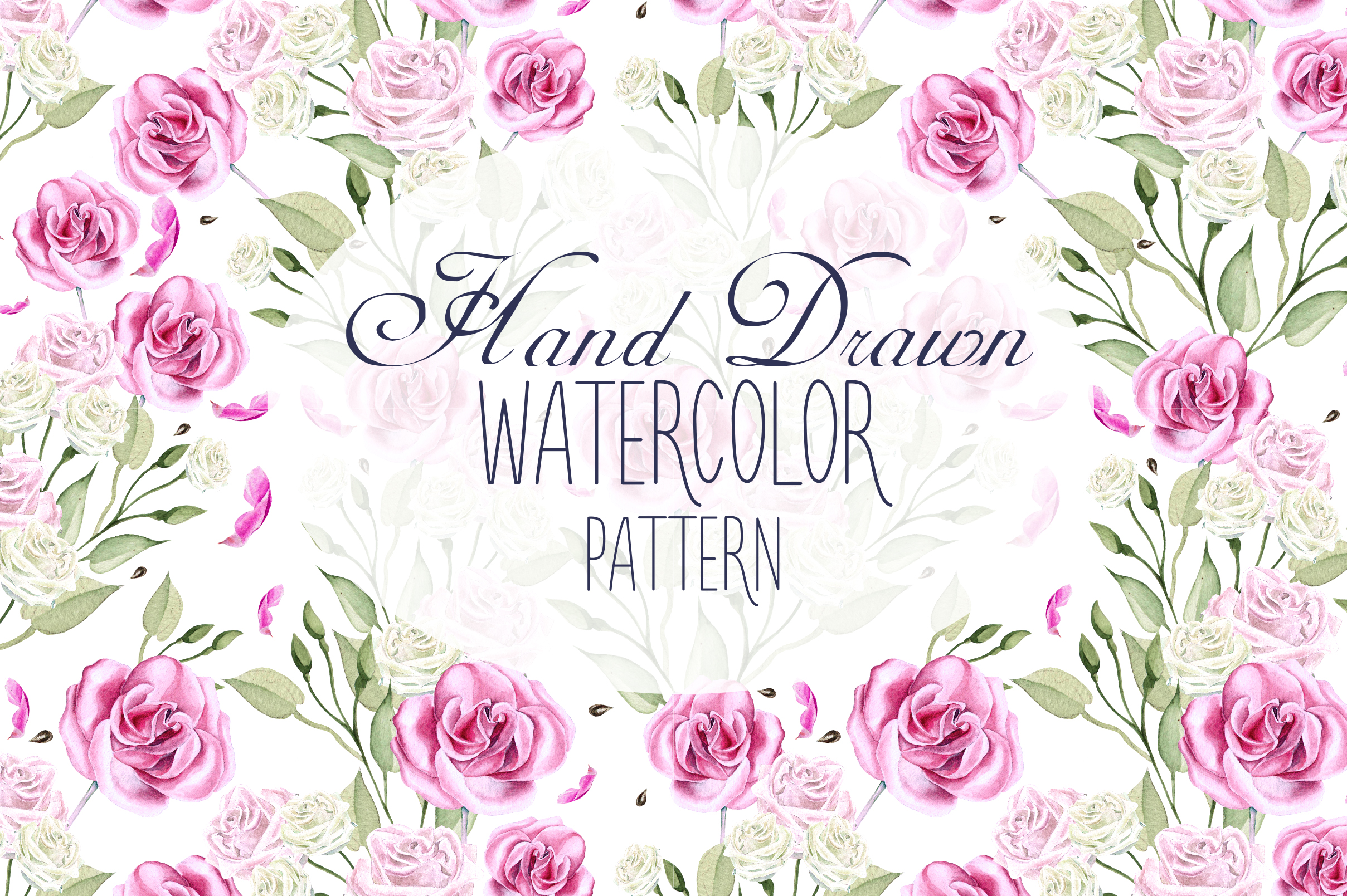 10 Hand Drawn Watercolor Pattern example image 12