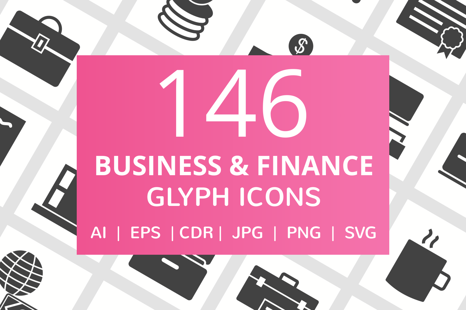146 Business & FInance Glyph Icons example image 1