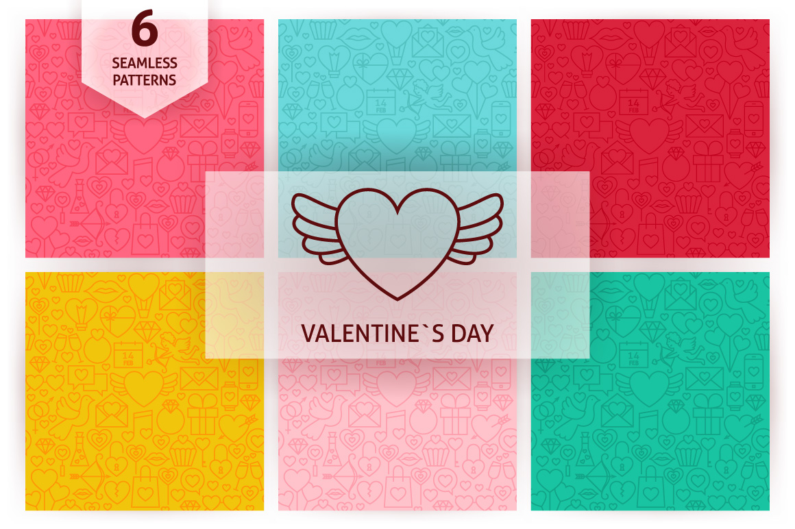 Valentine's Day Line Seamless Patterns example image 1