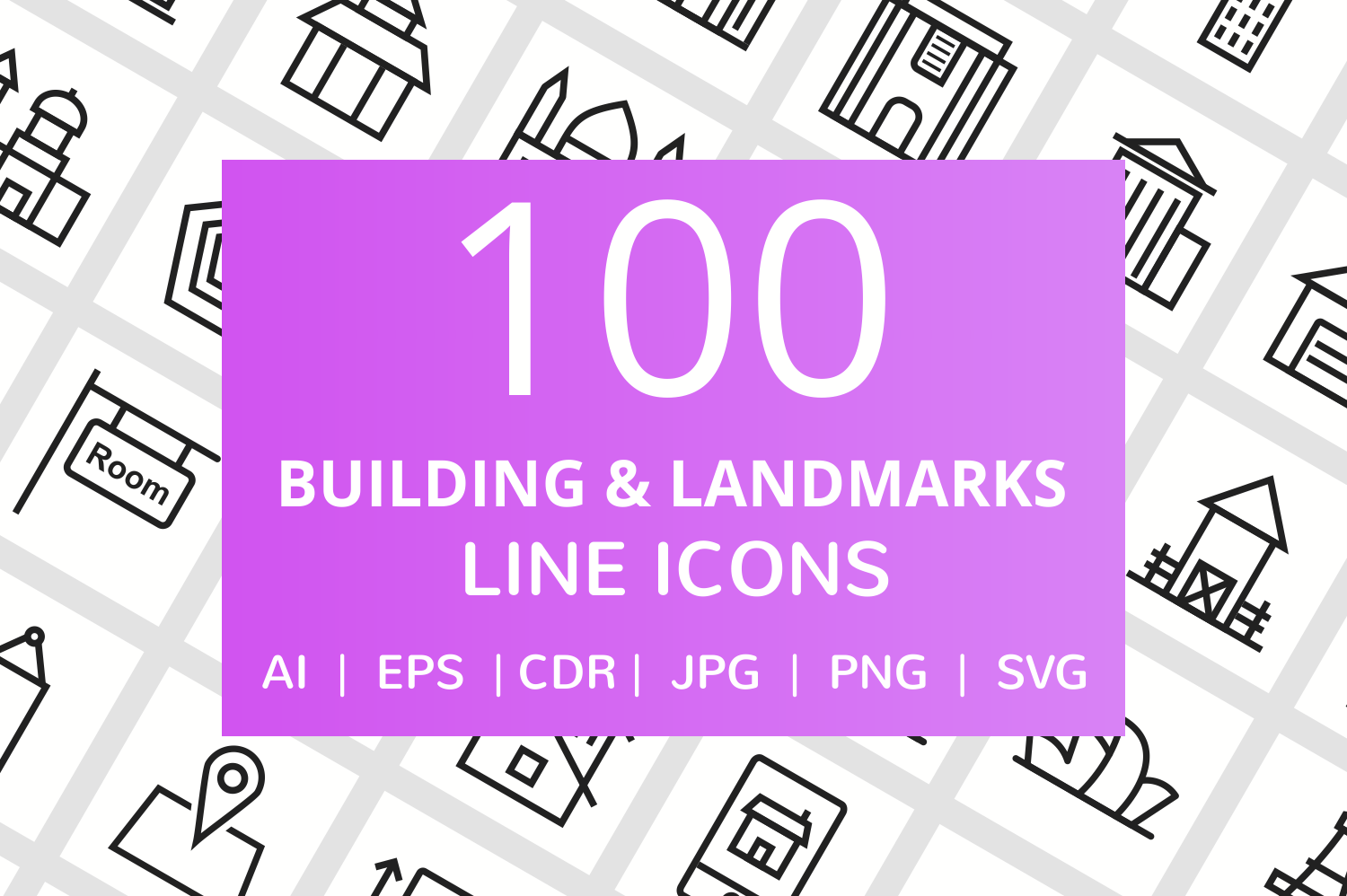 100 Building & Landmarks Line Icons example image 1