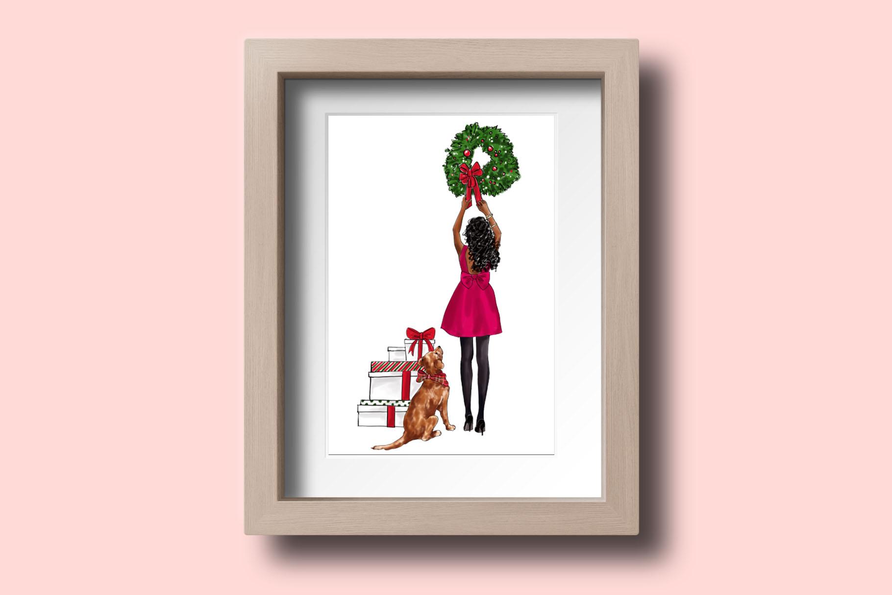 Fashion illustration - Christmas Girl 7 - Dark Skin example image 5