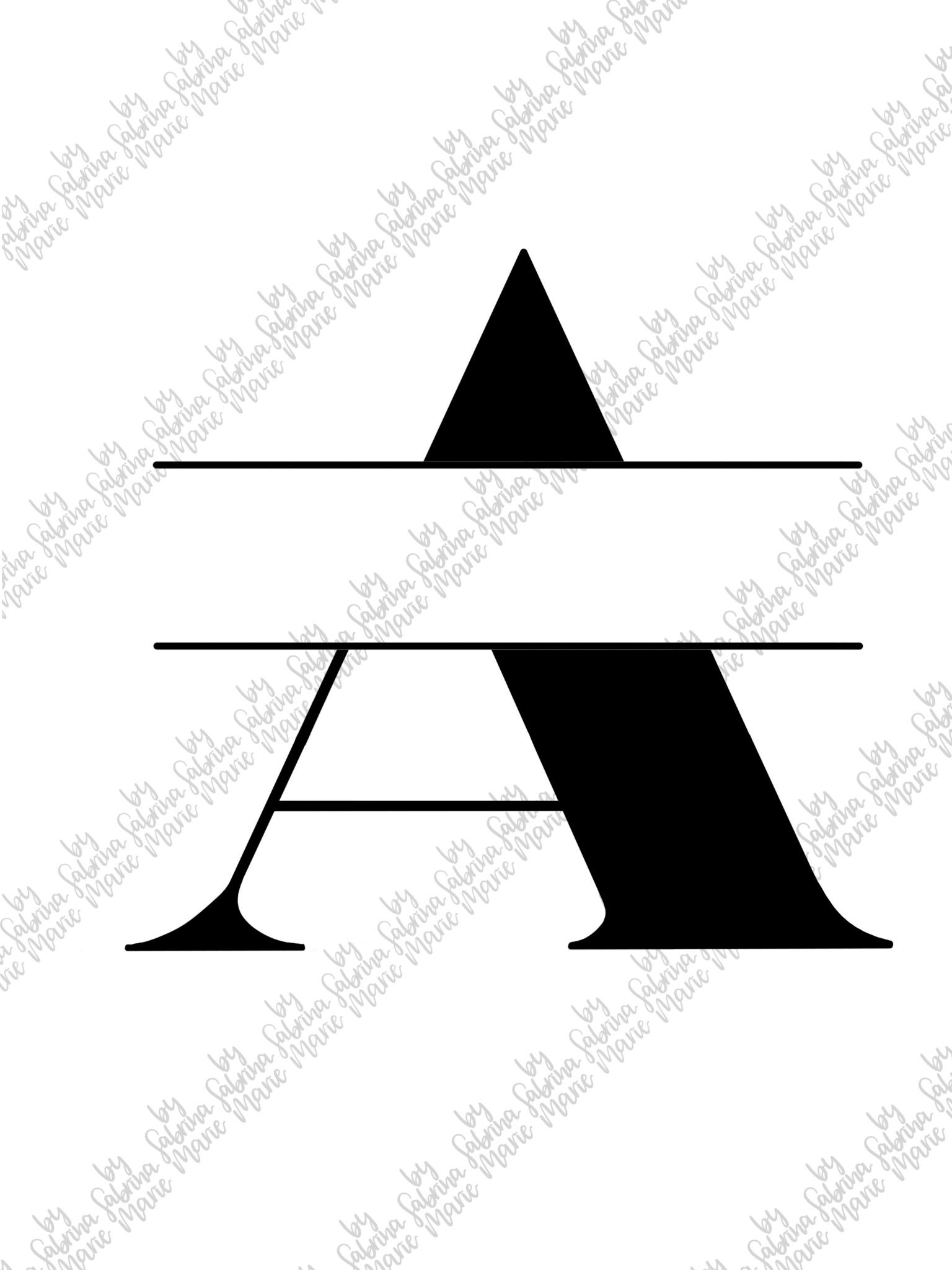 Split Monogram A - Handdrawn - SVG/PNG example image 2