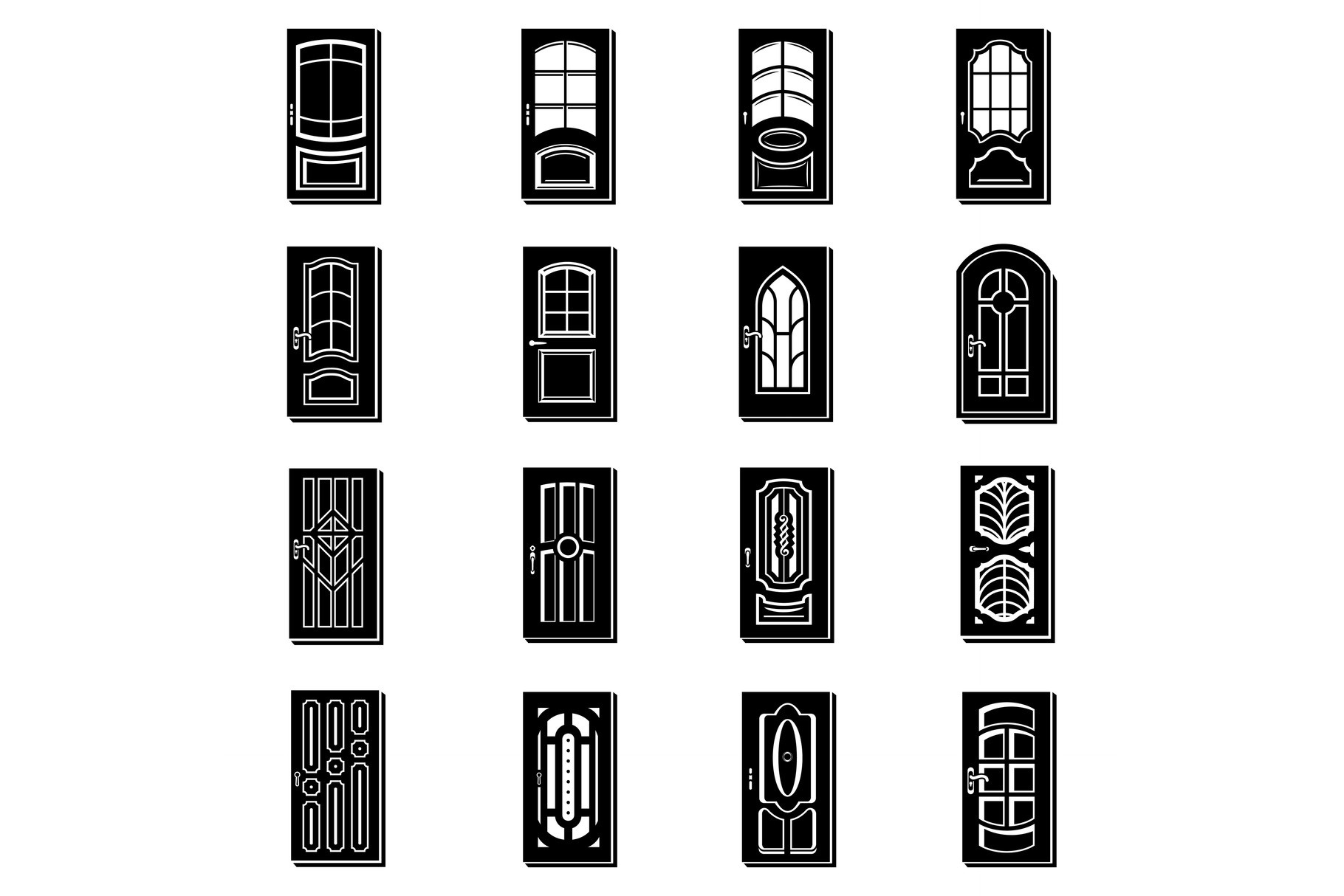 Door icons set, simple style example image 1