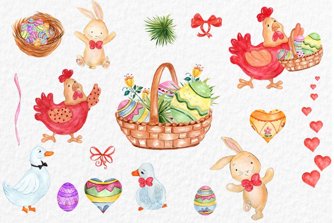 Watercolor Easter clipart example image 3